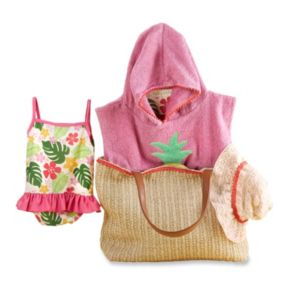 Baby Girl Baby Aspen Tropical Cover-up, Swimsuit, Hat & Tote Gift Set