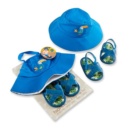 Baby Boy Baby Aspen Tropical Hat and Flip-Flop Gift Set