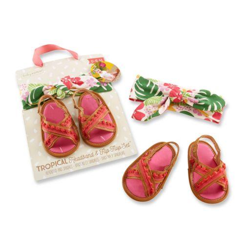 Baby Girl Baby Aspen Tropical Headband and Flip-Flop Gift Set