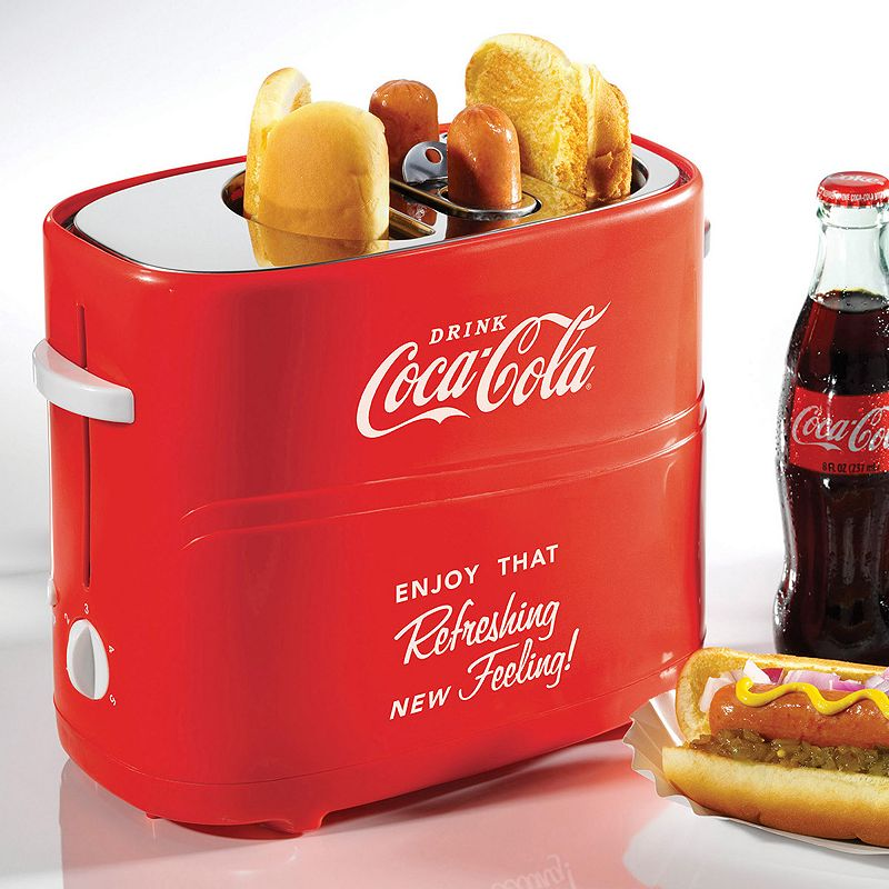 Nostalgia Electrics Limited Edition Coca-Cola Pop-Up Hot Dog Toaster Easy and fun to use, this Nostalgia Electrics Coca-Cola hot dog toaster makes the perfect hot dogs. A fun way for all ages to enjoy delicious hot dogs Perfect for entertaining or as a fun meal station Unit holds up to 2 regular-sized hot dogs and 2 hot dog buns at one time Metal, plastic Hand wash Manufacturer's 1-year limited warrantyFor warranty information please click here 7.75 H x 5.25 W x 10.25 D 650 watts Model no. HDT600COKE  Size: One Size. Color: Multicolor. Gender: unisex. Age Group: adult.