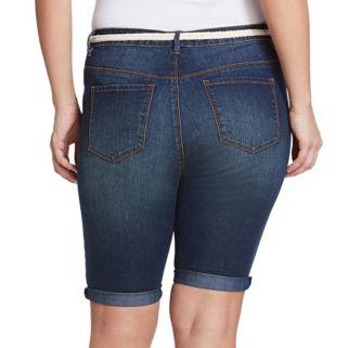 Plus Size Gloria Vanderbilt Joslyn Belted Bermuda Jean Shorts