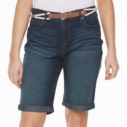 9dd9043a3d Plus Size Gloria Vanderbilt Joslyn Belted Bermuda Jean Shorts
