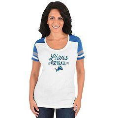 Women's Majestic Detroit Lions Foil Team Logo Tee