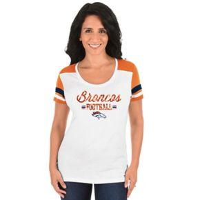 Women's Majestic Denver Broncos Foil Team Logo Tee