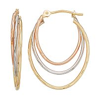 Forever 14K Tri Tone Triple Oval Hoop Earrings
