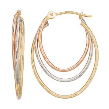 Forever 14K Tri Tone Triple Oval Hoop Earrings