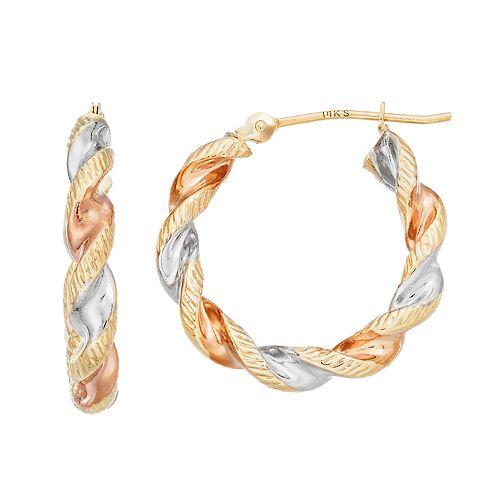 Forever 14K Tri Tone Textured Twist Hoop Earrings