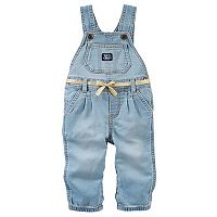 Baby Girl OshKosh B'gosh® Pleated Denim Overalls with Belt