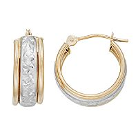 Forever 14K Two Tone Textured Hoop Earrings