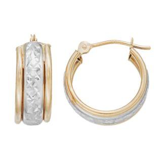 Forever 14K Two Tone Textured Hoop Earrings
