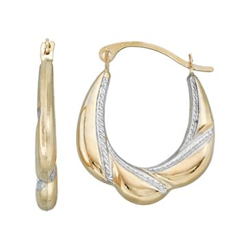 Forever 14K Two Tone Twisted Oval Hoop Earrings
