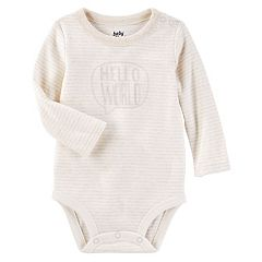 Baby Girl OshKosh B'gosh® 'Hello World' Striped Bodysuit