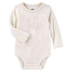 Baby Girl OshKosh B'gosh® 'Hello World' Striped Bodysuit