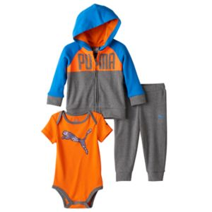 Baby Boy PUMA Grey Graphic Bodysuit, Hoodie & Pants Set