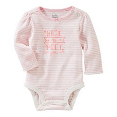 Baby Girl OshKosh B'gosh® 'Nice to Meet You' Striped Bodysuit