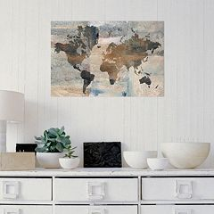 Amanti Art Stone World Map Canvas Wall Art