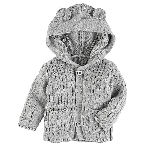 Baby Girl Oshkosh Bgosh Cable Knit Hooded Cardigan