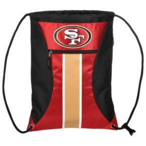 Forever Collectibles San Francisco 49ers Striped Zipper Drawstring Backpack