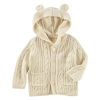 Baby Girl OshKosh B'gosh® Cable Knit 3D Ears Hooded Cardigan