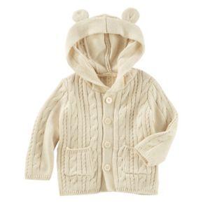 Baby Girl OshKosh B'gosh® Cable Knit 3D Ears Hooded Cardigan