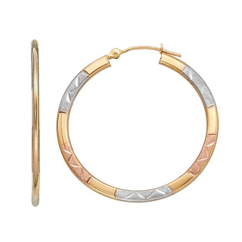 Forever 14K Tri Tone Textured Hoop Earrings