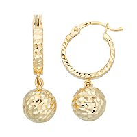 Forever 14K Textured Ball Hoop Earrings