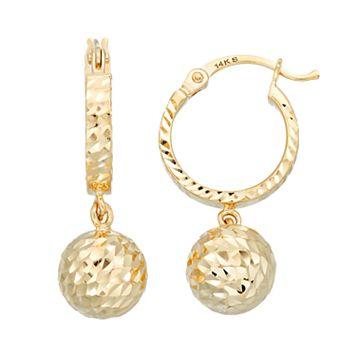 Forever 14K Textured Ball Hoop Earrings