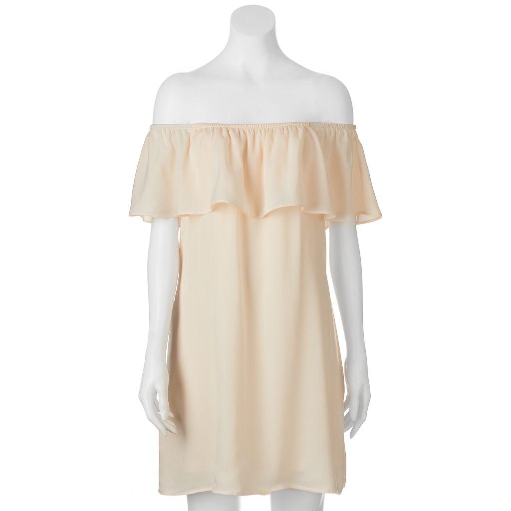 Juniors' Lily Rose Satin Off the Shoulder Shift Dress