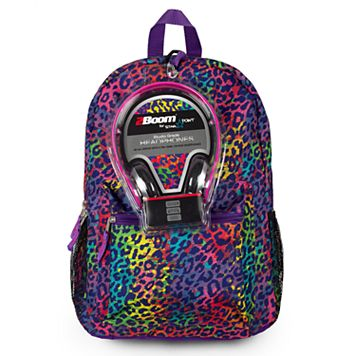 Kids Rainbow Cheetah Print Backpack & Headphones Set