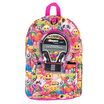 Kids Emoji Backpack & Headphones Set
