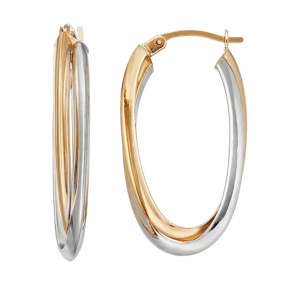 14k Two tone Double Oval Hoop Earrings