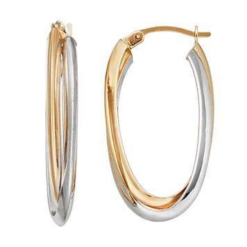 Forever 14K Two Tone Double Oval Hoop Earrings
