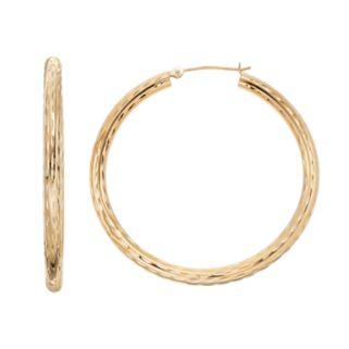 Forever 14K Textured Tube Hoop Earrings