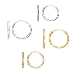 Charming Girl Kids' Sterling Silver & 14k Gold Over Silver Endless Hoop Earring Set