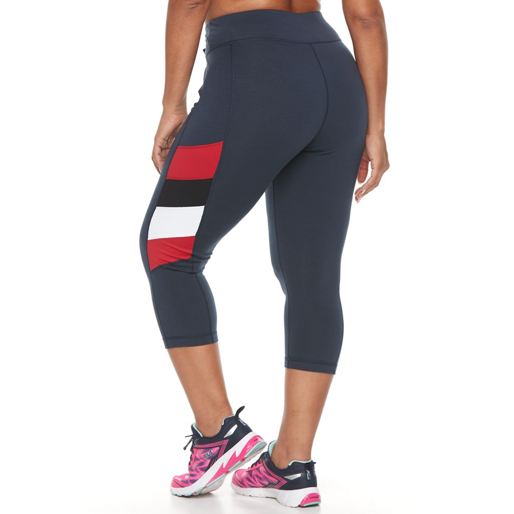 Plus Size FILA SPORT® Side Panel Stripe Capri Leggings
