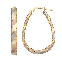 Forever 14K Tri Tone Striped U-Hoop Earrings