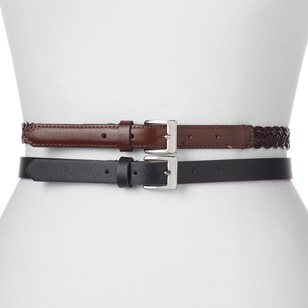 Women's Apt. 9® 2-for-1 Solid & Braided Belt Set