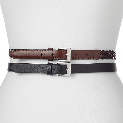 Women's Apt. 9® 2-for-1 Solid & Braided Belt Set