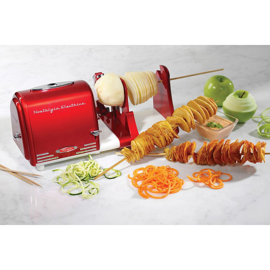 Nostalgia Electrics Retro Series Electric Spiral Twister, Peeler & Potato Chip on a Stick Maker
