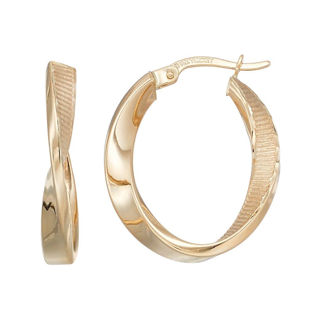 Forever 14K Textured Twist Hoop Earrings