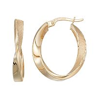 Forever 14K Textured Twist Hoop Earrings