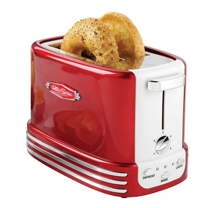 Nostalgia Electrics Retro Series 2-Slice Thick or Thin Toaster, 2 SLICE Add a sleek retro look to your kitchen counter with this Nostalgia Electrics bagel toaster. Accommodates a variety of breads, including artisan breads and bagels Five browning levels for perfectly-toasted bread Defrost and cancel options Bagel button automatically adjusts toasting time for bagels, thicker breads and English muffins Controls light up for easy navigation PRODUCT CONSTRUCTION CARE Metal, plastic Wipe clean Manufacturer's 1-year limited warrantyFor warranty information please click here 11.3 H x 15.3 W x 18.5 D 750 watts Model no. RTOS200  Size: 2 SLICE. Color: Multicolor. Gender: unisex. Age Group: adult.