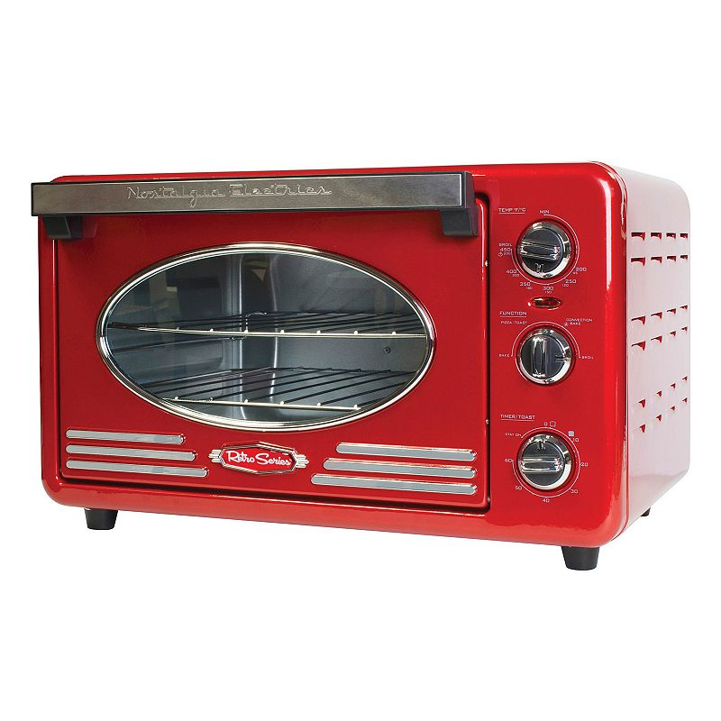 Nostalgia Electrics Retro Series 6-Slice Convection Toaster Oven, 6 SLICE This retro-inspired countertop toaster oven by Nostalgia Electrics makes a sleek addition to any countertop. Adjustable cooking temperature of 250°F to 450°F Options include baking, convection baking, toasting and broiling Two-shelf unit can bake up to two 12-inch pizzas or 6 slices of bread Keep track of cooking times with built-in 60-minute timer Controls light up for easy navigation WHAT'S INCLUDED Two nickel-plated baking racks Aluminum baking pan Crumb tray PRODUCT CONSTRUCTION CARE Metal, plastic Wipe clean Manufacturer's 1-year limited warrantyFor warranty information please click here 11.5 H x 13.3 W x 18.5 D 1500 watts Model no. RTOV220RETRORED  Color: Multicolor. Gender: unisex. Age Group: adult.