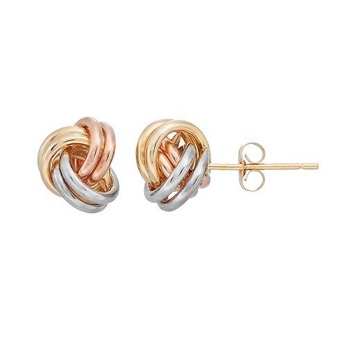 Forever 14K Tri Tone Love Knot Stud Earrings