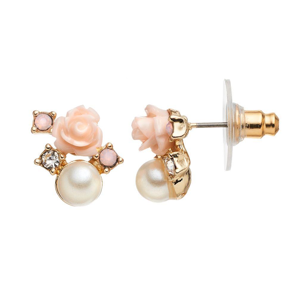 LC Lauren Conrad Pink Rosette Nickel Free Drop Earrings