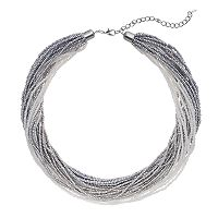 Gray Seed Bead Torsade Necklace