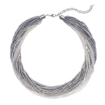 Gray Seed Bead Torsade Necklace