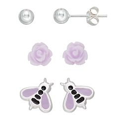 Charming Girl Kids' Sterling Silver Ball, Flower & Bee Stud Earring Set