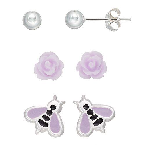 Charming Girl Kids' Sterling Silver Ball, Flower & Bee Stud Earring Set