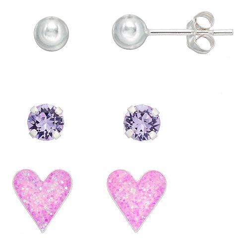Charming Girl Kids' Crystal, Ball & Heart Stud Earring Set